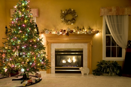 Kerst Woonkamer Stockfoto