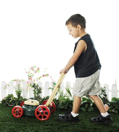 잔디에 걸쳐 자신의 장난감 잔디 깎는 기계를 추진하는 사랑스러운 유치원 소년은 짧은 울타리와 단풍 깨끗. 흰색 배경에.