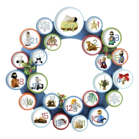 A circle composed of 24 numbered smalled circles, each with an image from the Nativity or generic Christmas item   Isolated on white  photo