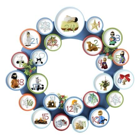 shephard: Un cerchio composto da 24 cerchi numerati smalled, ciascuno con un'immagine dal Nativit� o elemento generico per Natale isolato su bianco