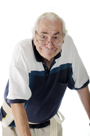 gait: Half-length image of an elderly man with a goofy expression, wearing a gait belt and leaning over his walker  out of view    On a white background