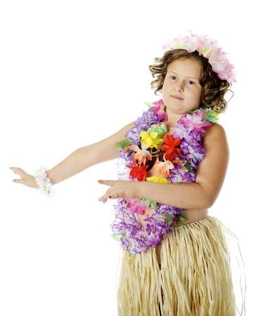 leis: An elementary girl dancing the hula in flower leis and a grass skirt.  On a white background.
