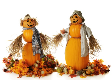 Two snowman-like pumpkin people, holding their bushy hands.  Each is surrounded by fall leaves, flowers andor gourds.  On a white background.