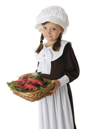 A beautiful young Pilgrim girl serving lobster  a likely first Thanksgiving food  on a bed of parsley   On a white background Stock Photo - 15041419