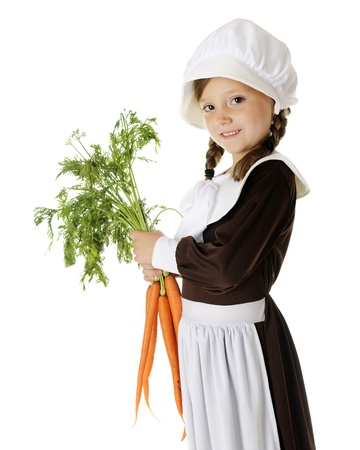 A beautiful elementary Pilgrim girl holding freshly picked carrots.  On a white background. Stock Photo - 15171803