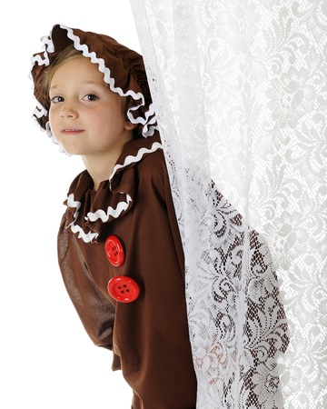 lacey: A cute elementary gingerbread girl peeking out from behind a lacey white curtain.  On a white background.