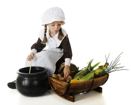 Young Pilgrim girl cooking