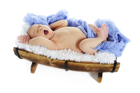 An adorable newborn on a fluffy white blanket in a half barrel, yawning ans stretching.  On a white background. photo