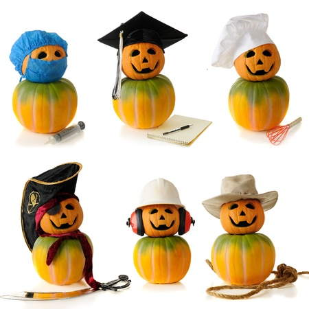 differing: Six pumpkin-heads wearing  hats depicting differing human characters -- a surgeon, graduate, chef, pirate, construction worker, and cowboy   On a white background