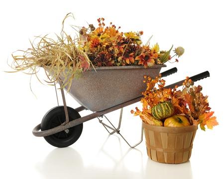Una carriola rustico pieno di colori fogliame completo Un cesto con zucche e foglie si trova nelle vicinanze Su uno sfondo bianco