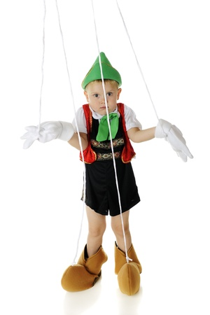 glove puppet: An adorable preschool child playing a Pinocchio puppet, strings and all.  Hes shrugging his shoulders in an I dont know gesture.  On a white background.