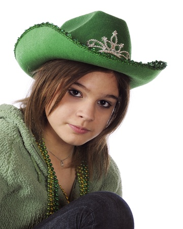 Closeup of a beutiful young teen dressed in green   Isolated on white Stock Photo - 17036305