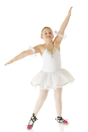 A young elementary ballerina graceful in her dancing costume   On a white background Stock Photo - 17148003