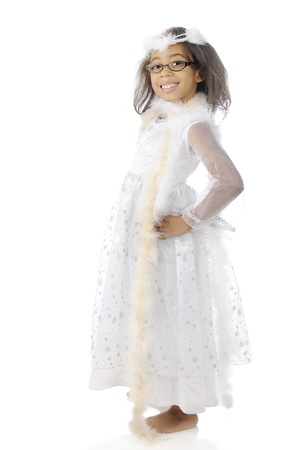 boas: A pretty elementary girl happily showing off her white dress and boas.  On a white background.