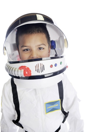explorer: Head and shoulders image of an elementary astronaut in his uniform and helmet, with his visor opened.  On a white background.