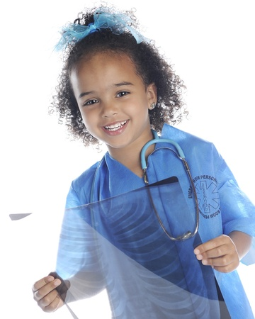 An adorable preschool doctor happily holding an x-ray of human ribs.  On a white background.