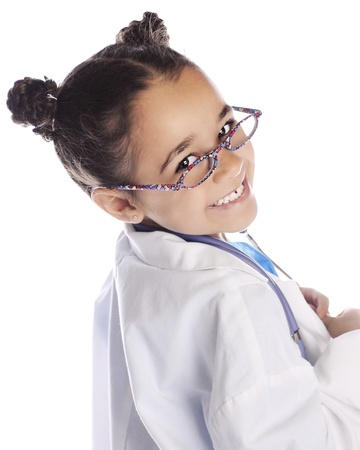Closeup image of an elementary  doctor  looking back over her shoulder at the viewer   On a white background  photo