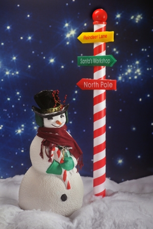 A bundled snowman on a starry night next to a candy cane striped pole with directions to Santa's land.