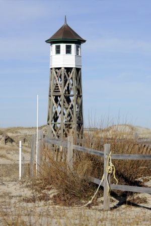 outer banks: View of a rustic old life saving station on North Carolinas Outer Banks.
