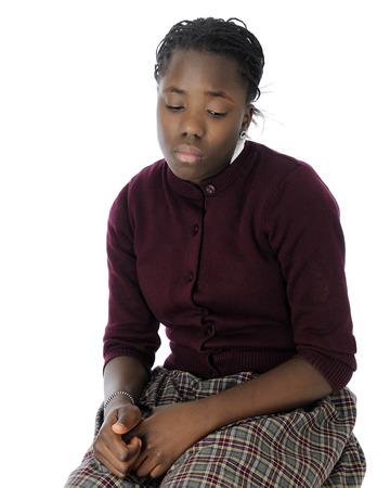 強大な悲しい探して魅力的なトゥイーン女学生。 写真素材
