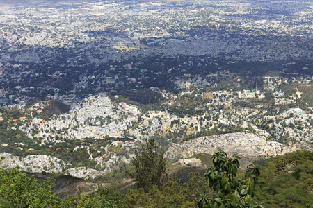 A high view overlooking the city of Port-Au-Prince, Haiti  Stock Photo
