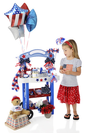 leis: An adorable preschooler looking after her 4th of July vendor stand.  The stands signs are left blank for your text.  On a white background.