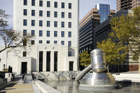 A giant outdoor gavel beside the Columbus, OH, Hall of Justice.