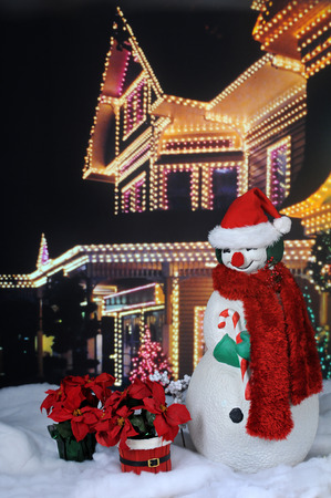 A nighttime image of a red-nosed snowman with a scarf and Santa hat before a brightly lit festive home, with two poinsettia plants in the snow by his side. Imagens