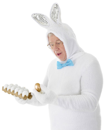 A senior adult looking surprised in his white Easter bunny outfit as he discovers a golden egg in the carton.  On a white background. photo