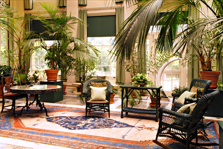 oriental rug: An interior view of the elegant old-time sunroom at George Eastman