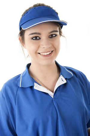 close up food: Close-up image of a pretty young fast-food employee smiling at the viewer.  On a white background.