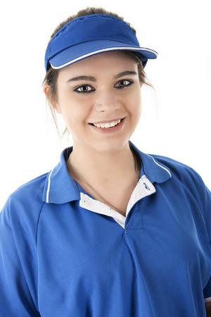 comida rapida: Imagen de primer plano de una linda joven empleado de comida r�pida sonrisa al espectador. Sobre un fondo blanco.