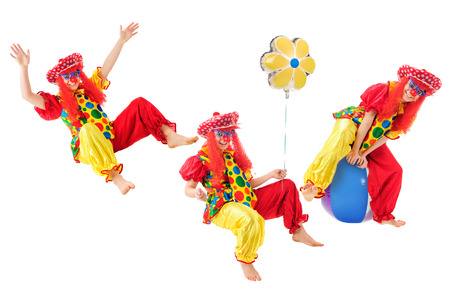 Three images of an active teen clown.  On a white background. Banco de Imagens