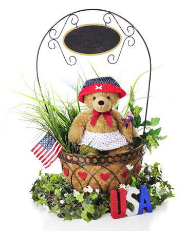 A basket full of greenery and a toy bear in patriotic attire.  A sign dangles from handle, left blank for your text..  On a white background. photo