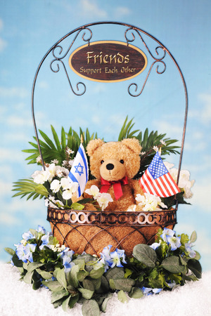 david brown: A wire basket with foliage, a teddy bear and an Israeli and American flag.  The handle bears a sign saying Friends Support Each other.  All on a bed of fluffy white and a lightly clouded sky.