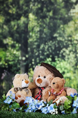 room for your text: Three toy bears -- a papa, son and daughter bear, cuddled together on a lawn near the woods, with room for your text in the trees above and behind.