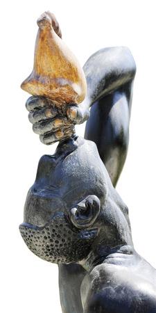 esclavo: Cabeza y los hombros vista lateral de la estatua Le Negres Marron (el esclavo desconocido).