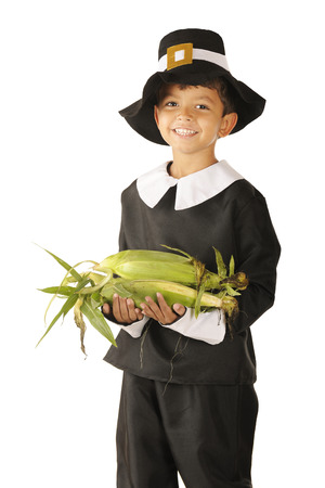 An adorable preschooler dressed as a Pilgrim happily carring an armload of fresh corn.  On a white background.