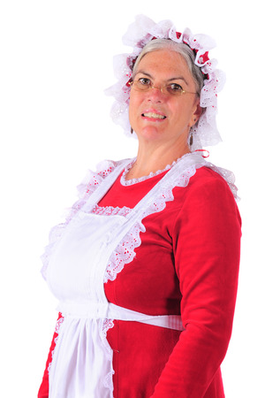 mrs santa claus: Head and shoulders portrait of Mrs. Santa Claus.  Isolated on white. Stock Photo