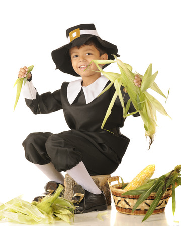A young Pilgrim boy happily husking corn.  One a white background. Stock Photo