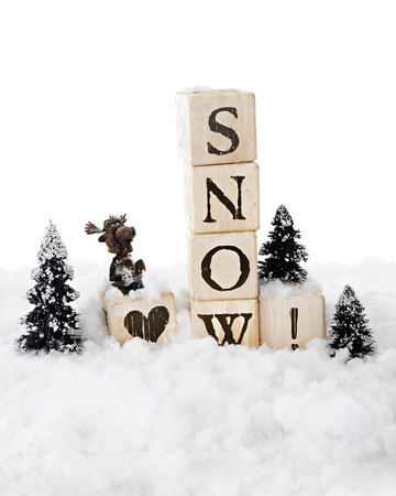 pine three: Snow-surrounded rustic alphabet blocks arranged with a heart before SNOW!   A silly moose sits on the heart block with three snow covered pine trees nearby.  On a white background.