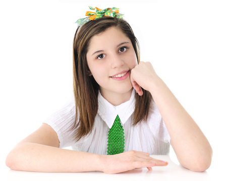 shiney: Close-up of a beautiful teen girl wearing her Irish colors.  On a white background.