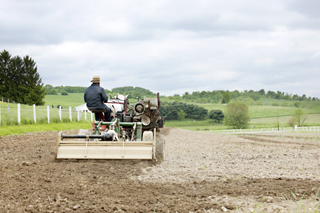amish: The back of an Amish on a horse-drawn cultivator on an overcast spring day. Stock Photo