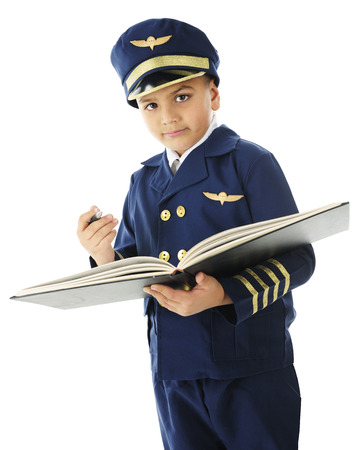 airline pilot: A handsome elementary airline pilot looking at the viewer as he prepares to sign the opened logbook.  On a white background.
