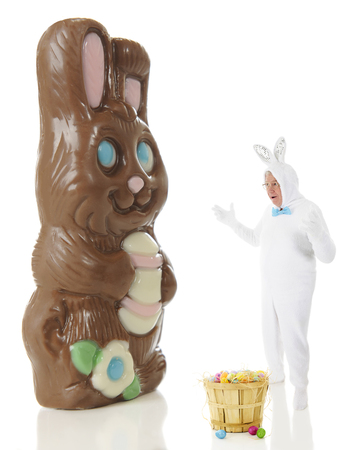 giant easter egg: A senior man in a white rabbit outfit astounded by a giant chocolate bunny.  On a white background. Stock Photo
