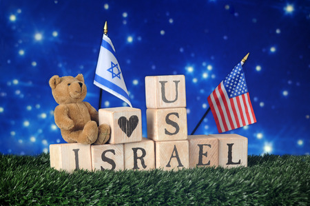 david brown: Alphabet blocks, a teddy bear and two flags declaring a friendship between Israel and the United States.  All on a bed of grass against a stary, night sky.