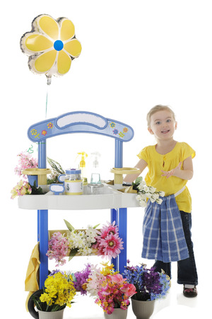 a jar stand: An adorable preschooler welcoming people to her flower stand.  Signs left blank for your text.  On a white background.