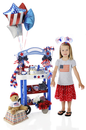 leis: An adorable preschooler standing by her Fourth of July vendor stand.  The stands signs are left blank for your text.  On a white background. Stock Photo