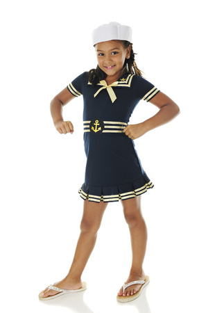 sailor girl: A pretty young sailor girl smiling at the viewer with a gung-ho! attitude.  On a white background.