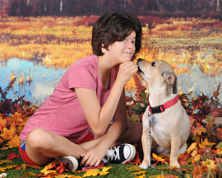 accepts: An attractive Hispanic girl  posing with her mutt as the dog accepts her reward - outside on a warm autumn day. Stock Photo
